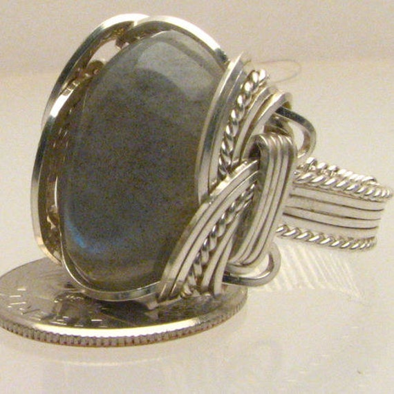 Handmade Sterling Silver Wire Wrap Labradorite Ring