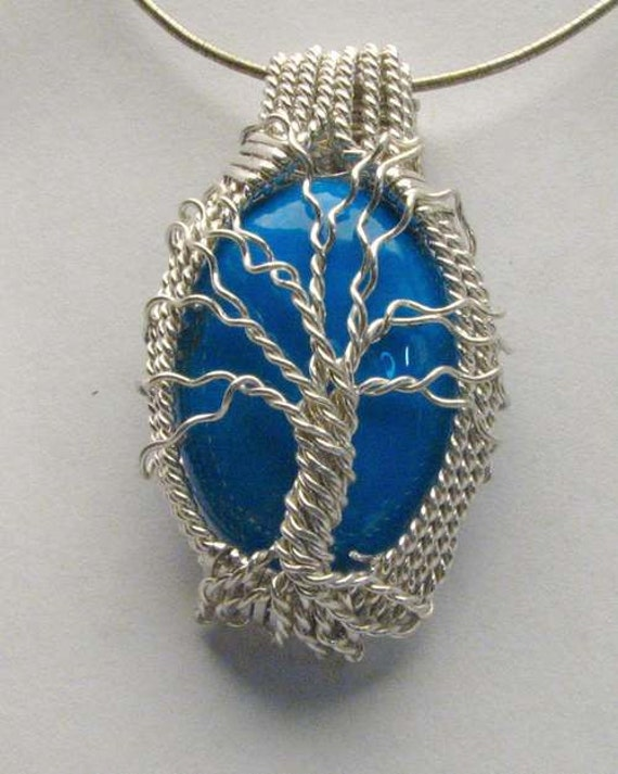 Handmade Solid Sterling Silver Wire Wrap Tree Howlite Dyed Turquoise Cabochon Pendant