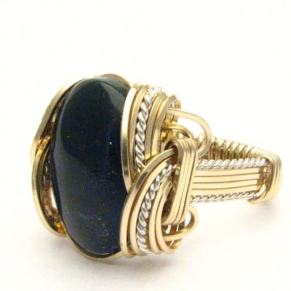 Handmade Wire Wrap Two Tone Sterling Silver/14kt Gold Filled Black Onyx Ring