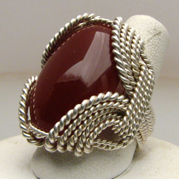 Carnelian Wire Wrapped Ring Wonderful Wire Wrapped Oval Red Carnelian Cabochon Silver Ring