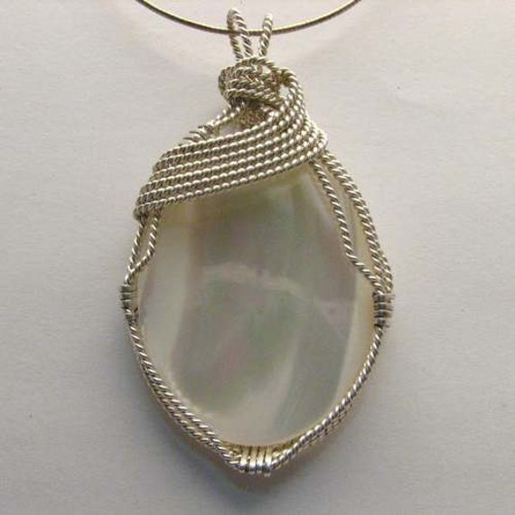 Handmade Solid Sterling Silver Wire Wrap Mother of Pearl Pendant