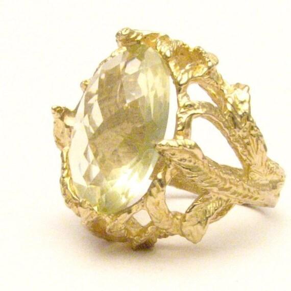 Handmade 14kt Gold Yellow Citrine Claw Gemstone Ring