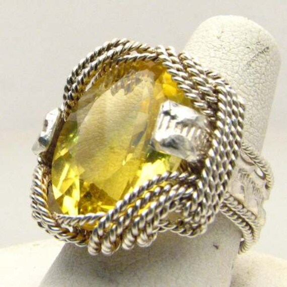 Handmade Sterling Silver Wire Wrap Citrine Ring