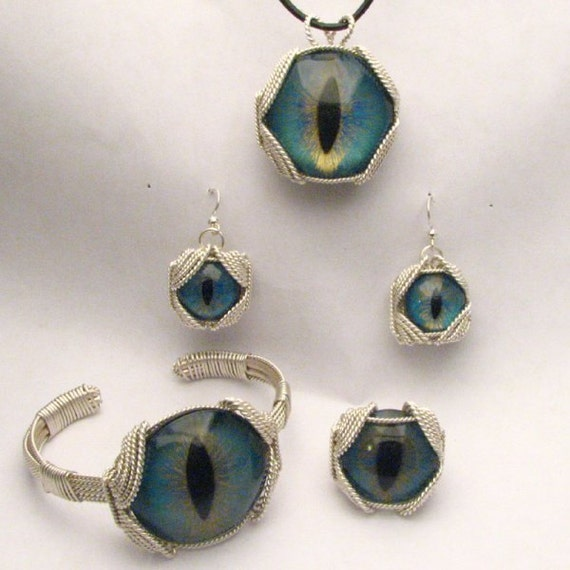 Handmade Sterling Silver Wire Wrap Dragon Eye Jewelry Set