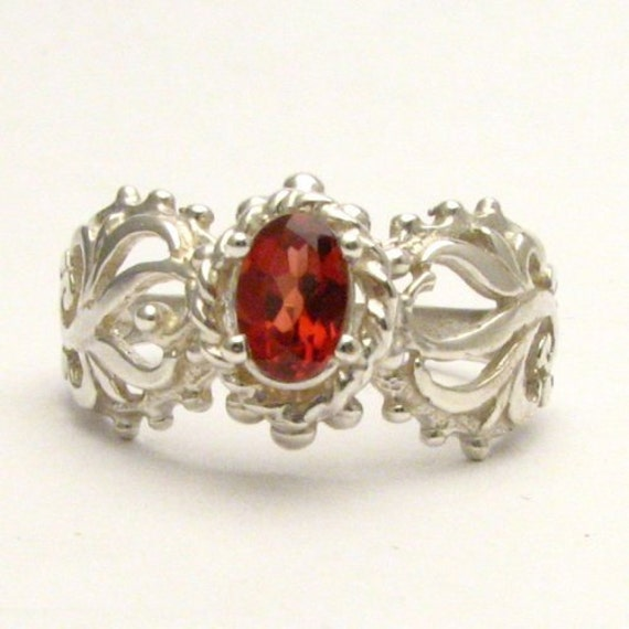 Handmade Sterling Silver Red Garnet Filigree Gemstone Ring