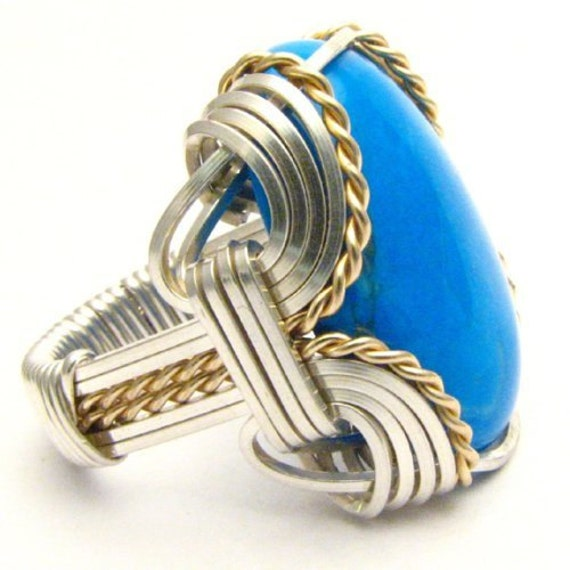 Handmade Wire Wrap Sterling Silver/14kt Gold Filled Howlite Dyed Turquoise Cabochon Ring