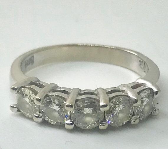 Vintage Anniversary Ring 5 Stone Diamond 14 kt white gold Ring,5- 4mm  TCW 1.25 G VS1  diamonds