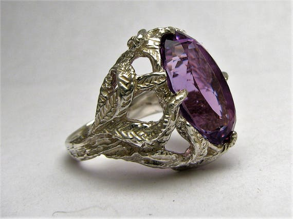 Handmade Sterling Silver Amethyst Faceted Stone Gemstone Ring