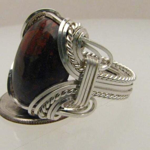 Wire Wrapped Ring Poppy Jasper Handmade Solid Sterling Silver Wire Wrapped Poppy Jasper Ring