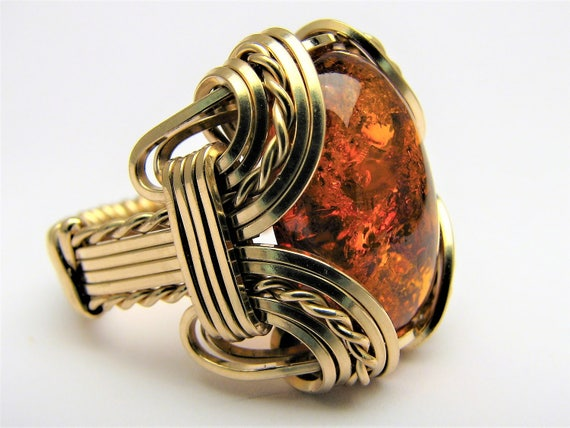 Handmade 14kt Gold Filled Wire Wrap Amber Ring