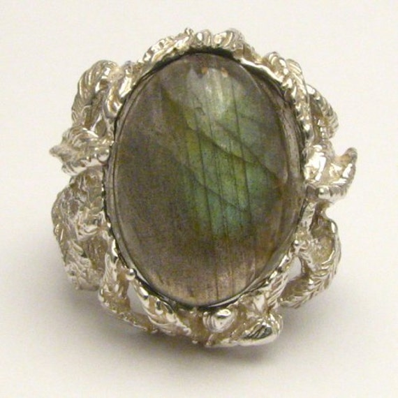 Handmade Solid Sterling Silver Labradorite Cab Ring