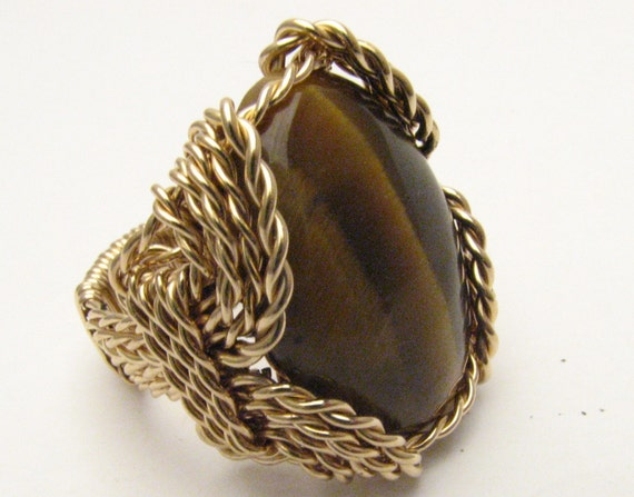 Wire Wrapped Ring  Handmade Statement Ring 14kt Gold Filled Wire Wrap Brown Tiger Eye Agate Cabochon Gemstone Ring Artisan Ring