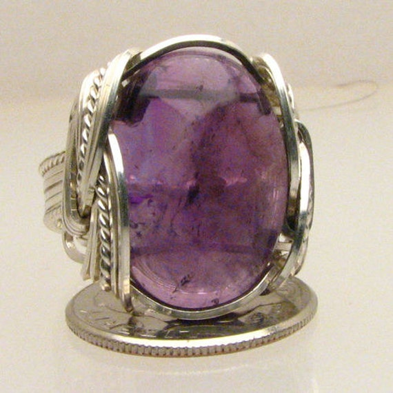 Handmade Solid Sterling Silver Wire Wrap Amethyst Cab Ring