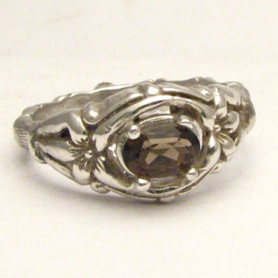 Handmade Solid Sterling Silver Smoky Quartz Bone Ring