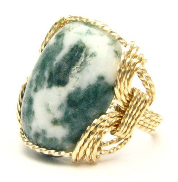 Handmade Wire Wrapped Green Tree Agate 14kt Gold Filled Gemstone Ring.  Custom Sized to fit you.