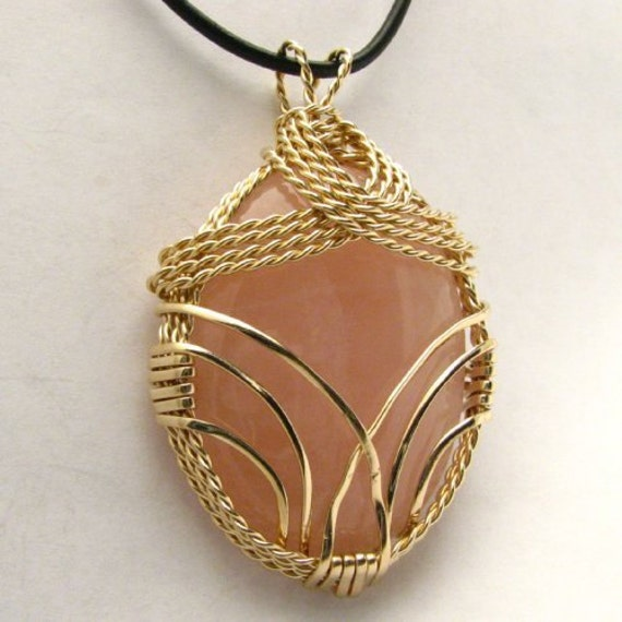 Handmade 14kt Gold Filled Wire Wrap Rose Quartz Pendant