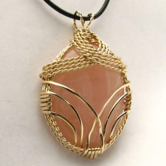 Handmade 14kt Gold Filled Wire Wrap Rose Quartz Pendant
