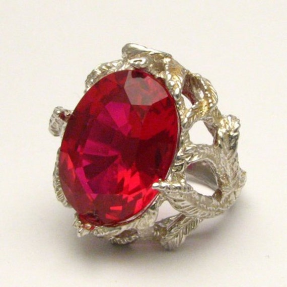 Handmade Sterling Silver Man Made Faceted Ruby Stone Ring