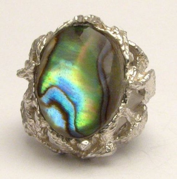 Custom Made Abalone Shell Onyx Cab Gemstone Solid Sterling Silver Ring.   Custom Sized to fit you.