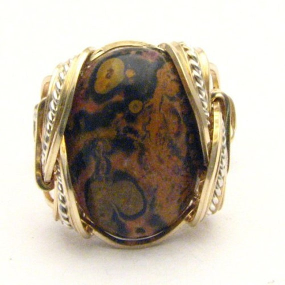 Handmade Wire Wrap Two Tone Sterling Silver/14kt Gold Filled Leopard Skin Cabochon Ring