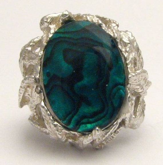 New Custom Made Green Paua Shell Ring Beautiful Band Design 12.5ct 10 grams of Solid Sterling Silver.   Custom Sized to fit you.