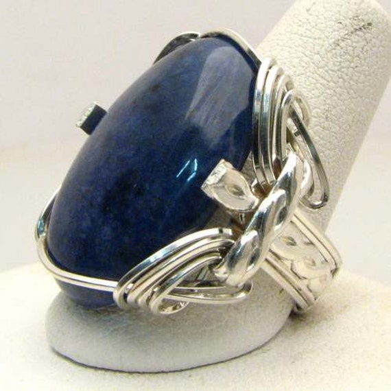 Handmade Sterling Silver Wire Wrap Sodalite Ring