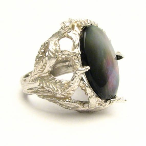 Handmade Sterling Silver Black Mother of Pearl Gemstone Ring