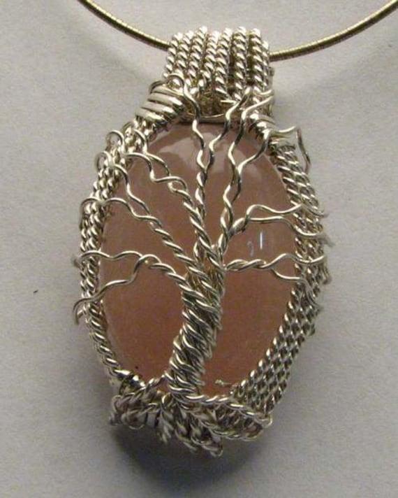 Handmade Solid Sterling Silver Wire Wrap Rose Quartz Pendant
