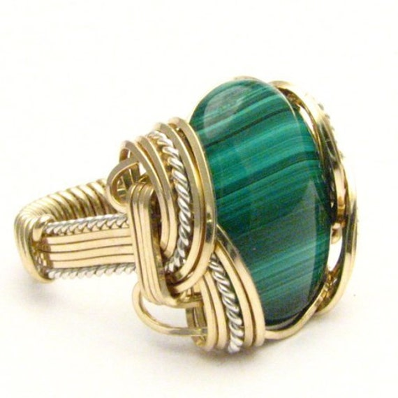 Handmade Wire Wrapped VintageTwo Tone Sterling Silver/14kt Gold Filled Malachite Cabochon Ring