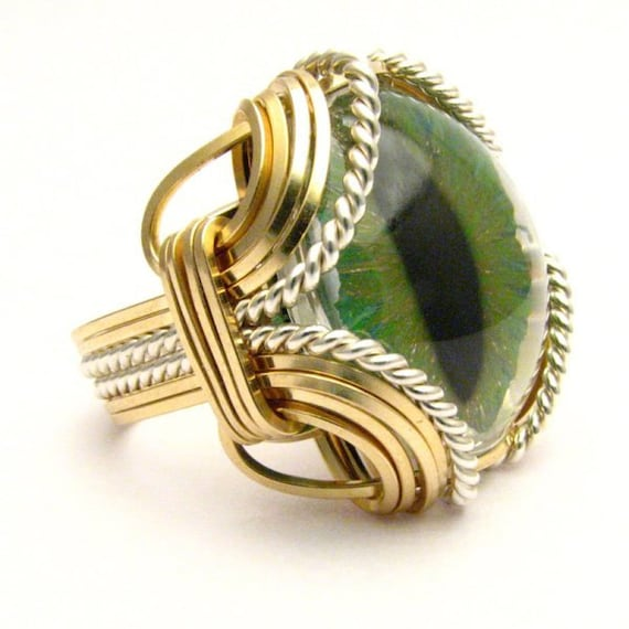 Handmade Gold Filled/Sterling Silver Gothic Steampunk 3D Hand Painted Dragon Eye Ring