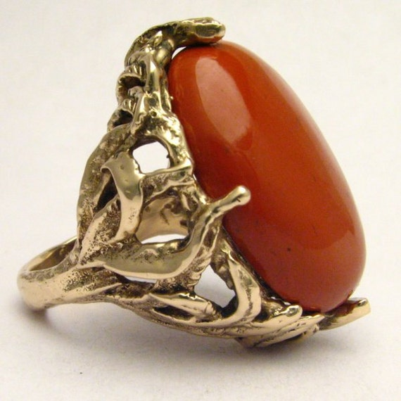 Handmade 14kt Gold Red Jasper Massive Claw Ring