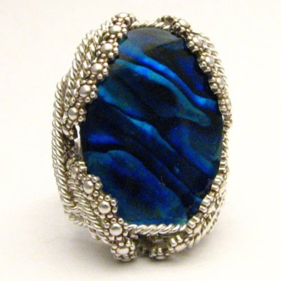 Handmade Sterling Silver Berry Wire Wrap Blue Paua Ring