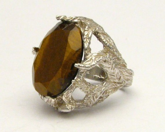 Handmade Solid Sterling Silver Faceted Tiger Eye Ring