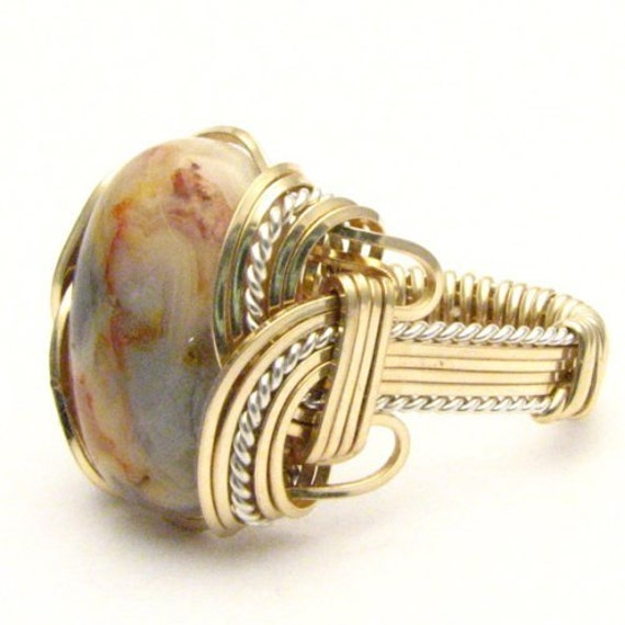 Handmade Wire Wrap Two Tone Sterling Silver/14kt Gold Filled Crazy Lace Agate Ring