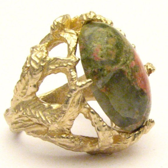 Handmade 14kt Gold Unakite Claw Ring