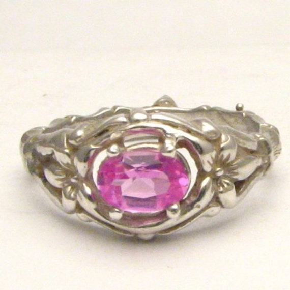 Handmade Sterling Silver Man Made Pink Sapphire Bone Ring