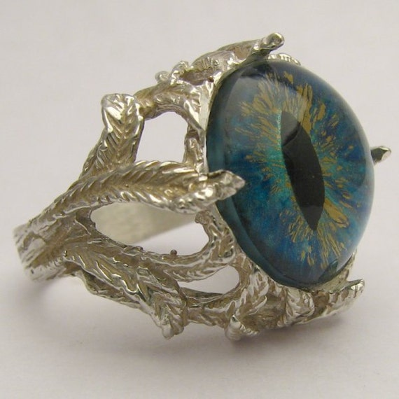 Handmade Sterling Silver Aqua Gothic Dragon Eye Claw Ring