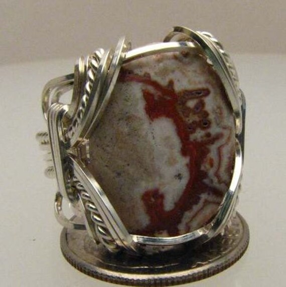 Handmade Wire Wrapped Picture Rosetta Stone Agate Sterling Silver Ring. Custom Personalized Sizing to fit you.