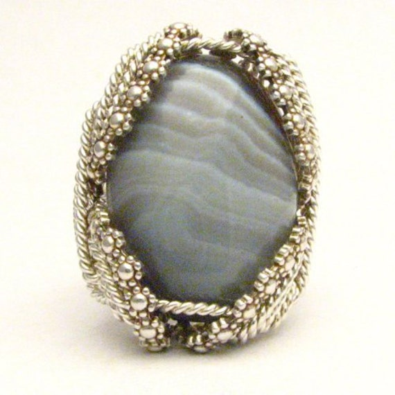 Wire Wrapped Sterling Silver Ring Handmade Ring Sterling Silver Berry Wire Wrapped Botswana Agate Ring