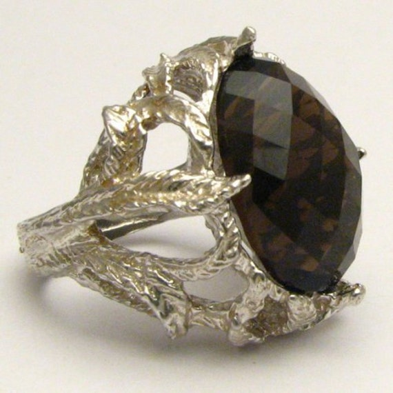 Handmade Sterling Silver Checkerboard Cut Smoky Quartz Gemstone Ring