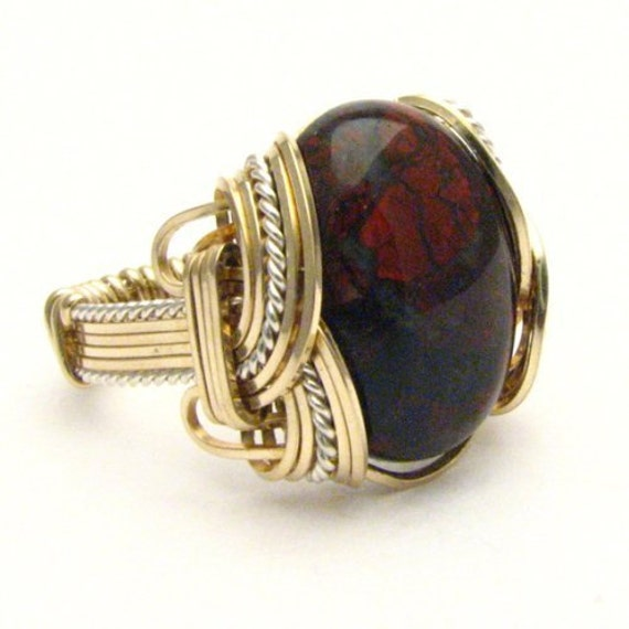 Handmade Wire Wrap Two Tone Sterling Silver/14kt Gold Filled Poppy Jasper Ring