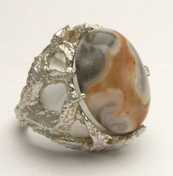 Custom Made Crazy Lace Agate Cab Natural Colors 18x13mm Solid Sterling Silver Gemstone Ring.  Custom Sized to fit you.