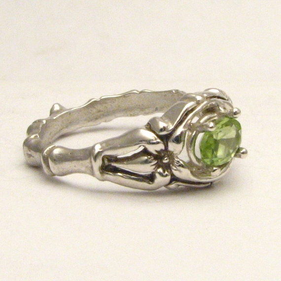 Green Peridot Bone Ring Solid Sterling Silver also in 14kt Gemstone Ring 6x4mm .5ct.