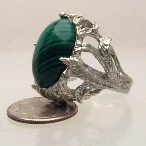 Malachite Cabochon Silver Handmade Ring Solid Sterling Silver Green Gemstone Ring