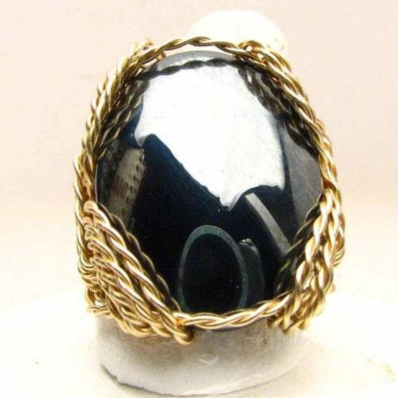Handmade 14kt Gold Filled Wire Wrap Hematite Ring