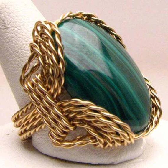 Handmade 14kt Gold Filled Wire Wrap Green Malachite Ring