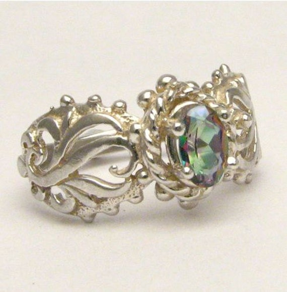 Colorful Gemstone Mystic Topaz Vine Band Solid Sterling Silver Filigree.  Custom Sized to fit you.