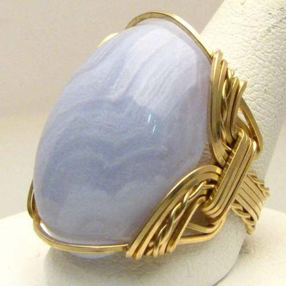 Wire Wrapped Handmade 14kt Gold Filled Blue Lace Agate Statement Ring