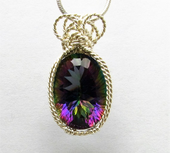 Handmade Pendant Sterling Silver Wire Wrapped Pendant Unique Concave Cut Mystic Quartz Gemstone Pendant 18x13mm Christmas Stocking Stuffer