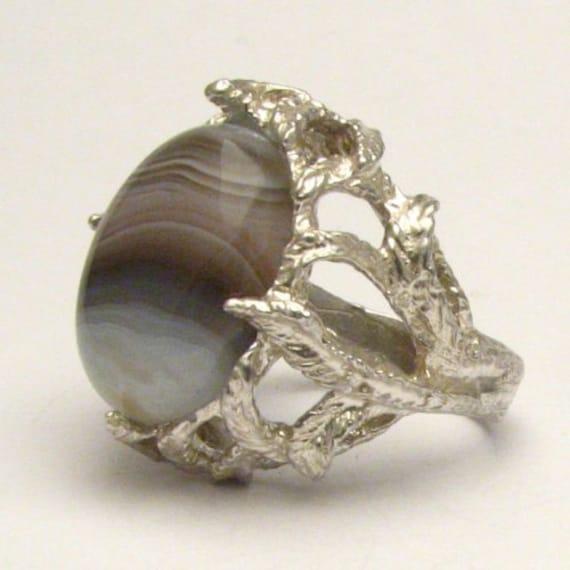 Handmade Sterling Silver Botswana Agate Cab Gemstone Ring